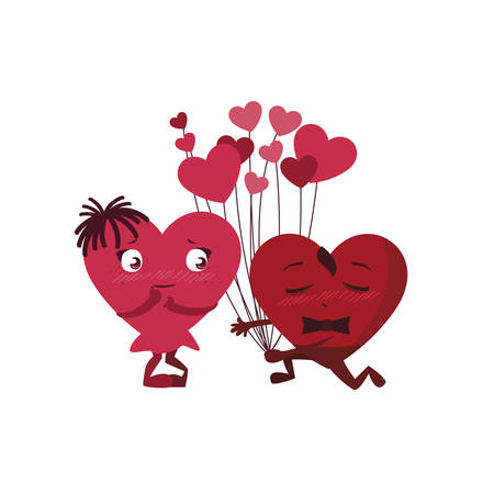 couple hearts with balloons helium kawaii characters vector illustration design