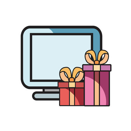 online shopping computer and gifts vector illustration Ilustração