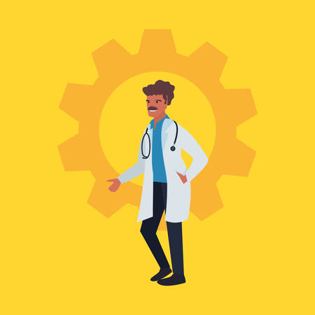 doctor with stethoscope profession labour day vector illustration
