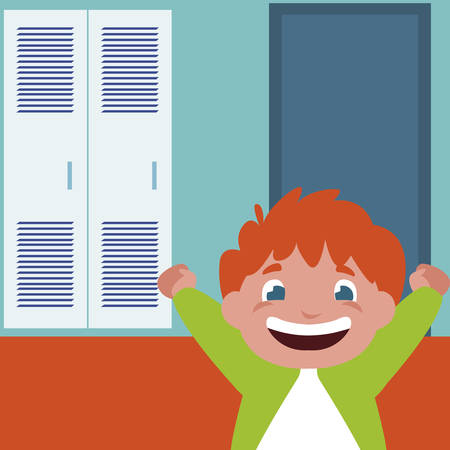 happy little schoolboy in school corridor vector illustration design Illustration