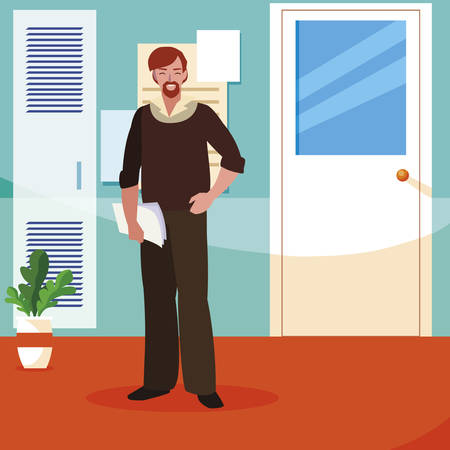 teacher male in the school corridor vector illustration design