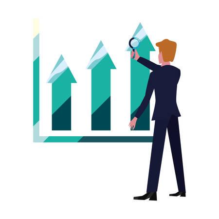 businessman with magnifier chart report vector illustration Иллюстрация