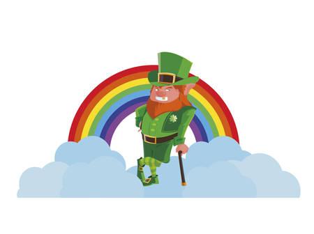 saint patrick lemprechaun with cane and rainbow vector illustration design Stok Fotoğraf - 122457381
