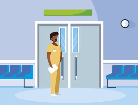black male medicine worker with uniform in elevator door vector illustration design