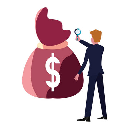 businessman with magnifier money bag vector illustration