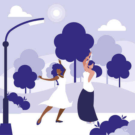 young interracial girls dancing in the park vector illustration design Illustration