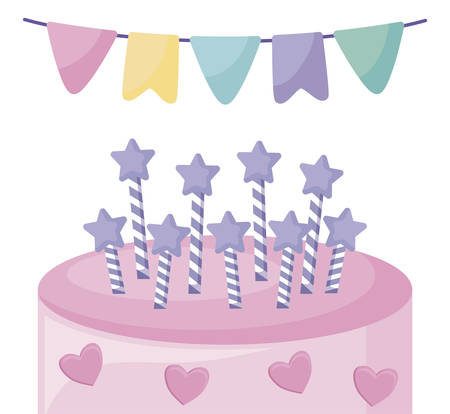 sweet cake with candles and garland hanging vector illustration design
