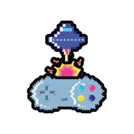 video game spaceship flying with control pixelated vector illustration design