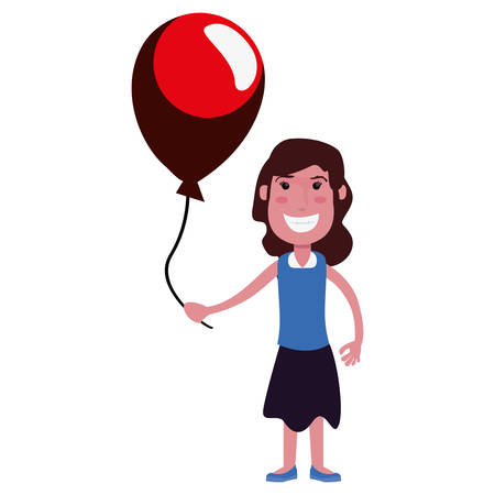 happy girl with balloon on white background vector illustration