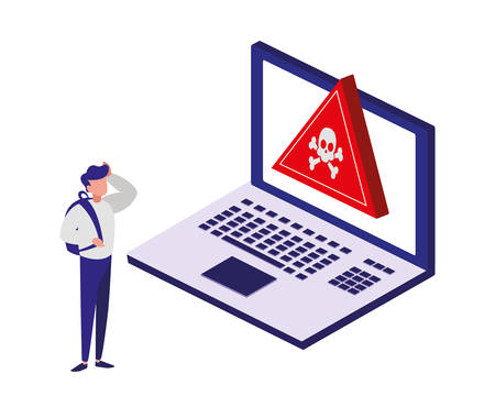 laptop computer with alert symbol vector illustration design Illusztráció