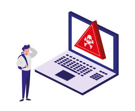 laptop computer with alert symbol vector illustration design Illustration