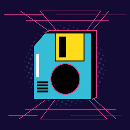 floppy disk retro icon vector illustration design