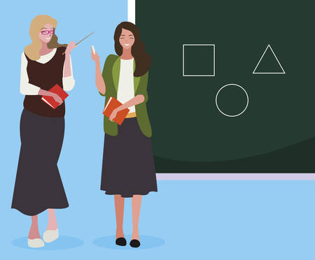 female teachers couple with textbooks and chalkboard vector illustration design Vectores