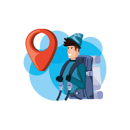traveler man with travel bag and pin pointer location vector illustration design Stock Illustratie