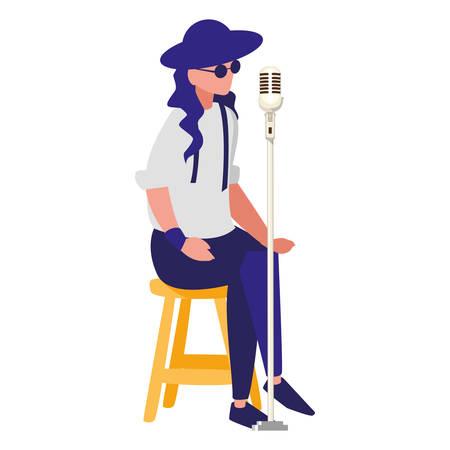 Sänger mit Mikrofoncharakter-Vektor-Illustrationsdesign Vektorgrafik
