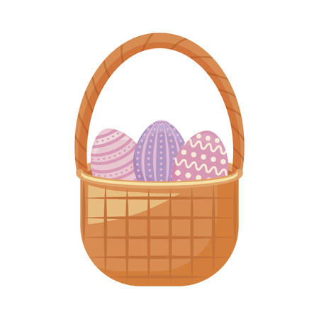 eggs of easter in basket wicker vector illustration design