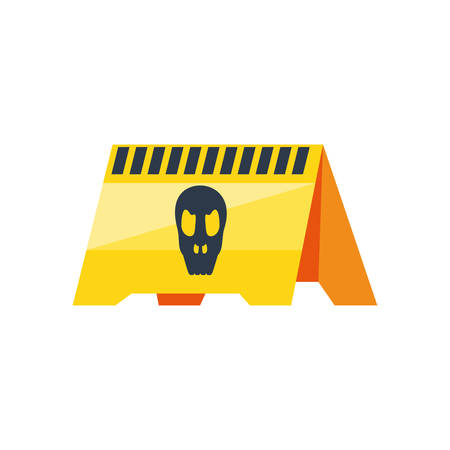 warning signage with skull isolated icon vector illustration design