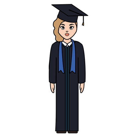 young student graduated girl character vector illustration design
