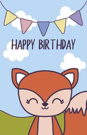happy birthday card with cute chipmunk vector illustration design Ilustración de vector