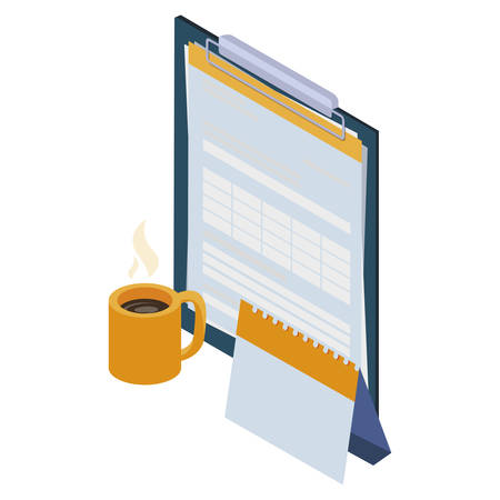 checklist clipboard with set office icons vector illustration design Çizim