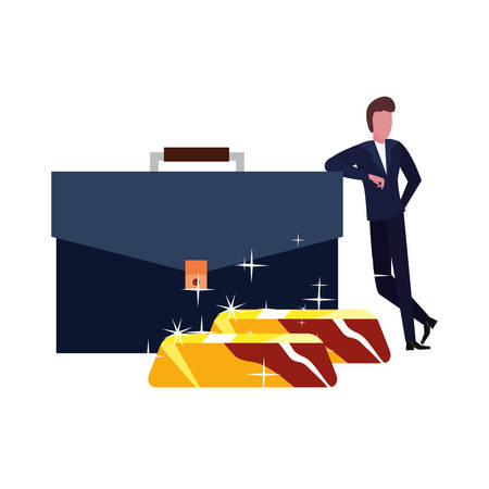 businessman suitcase gold bars bank vector illustration vector illustration