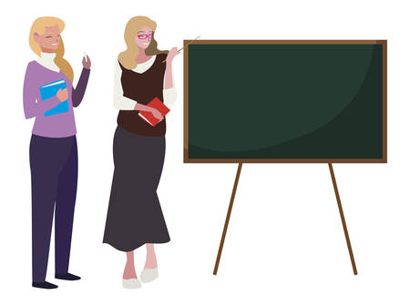 female teachers couple with textbooks and chalkboard vector illustration design