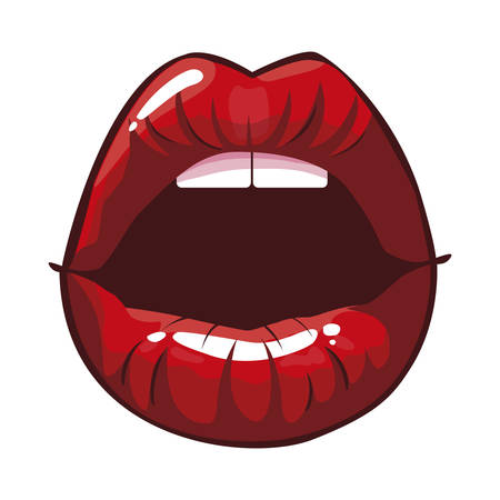 sexy female lips pop art style vector illustration design