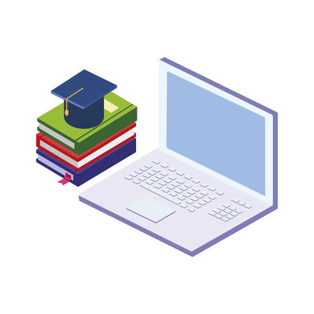 pile text books with laptop vector illustration design Zdjęcie Seryjne - 122391977