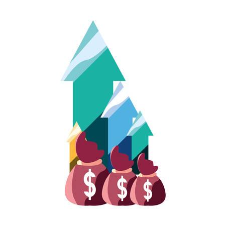 money bags dollar finance up arrows vector illustration Ilustracja