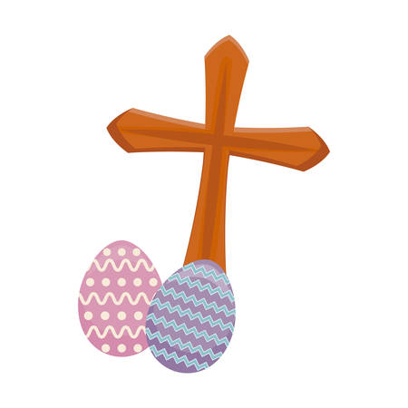 cross catholic with eggs of easter vector illustration design