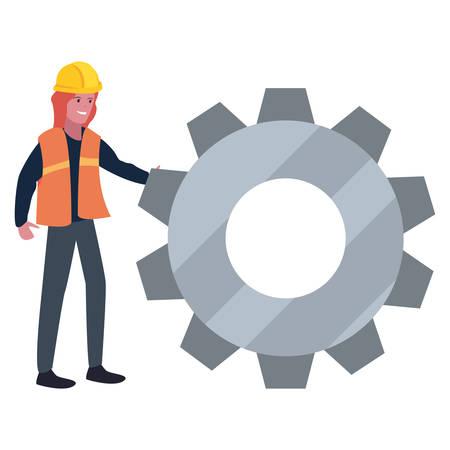 construction worker female gear vector illustration design