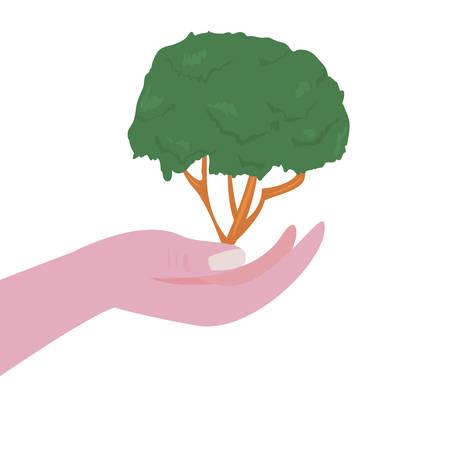 hand holding tree natural happy earth day vector illustration Ilustración de vector