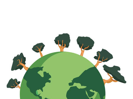world planet trees happy earth day vector illustration Stok Fotoğraf - 122395293