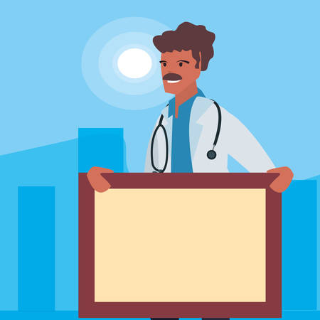 doctor with board labour day vector illustration