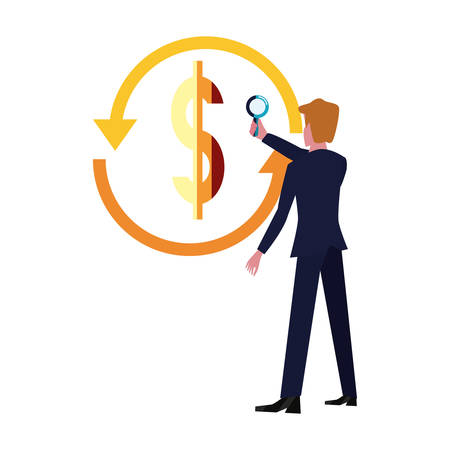 businessman with magnifier dollar exchange vector illustration