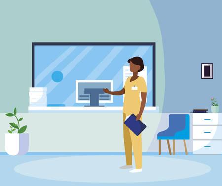 black female medicine worker in hospital reception vector illustration design
