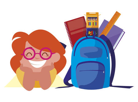 happy little schoolgirl with schoolbag and supplies vector illustration design Illustration