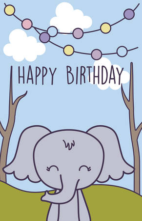 happy birthday card with cute elephant vector illustration design