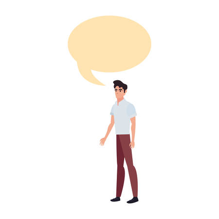 man with casual clothes character talking on white background vector illustration