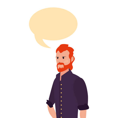man character avatar male talking on white background vector illustration Ilustração