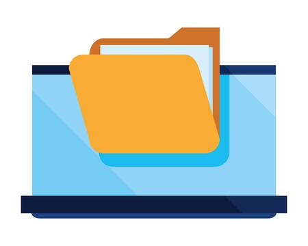 laptop folder file cybersecurity data protection vector illustration 向量圖像