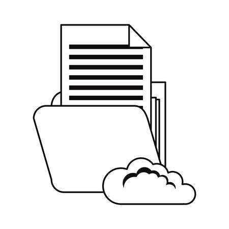 cloud computing folder cybersecurity data protection vector illustration outline Иллюстрация