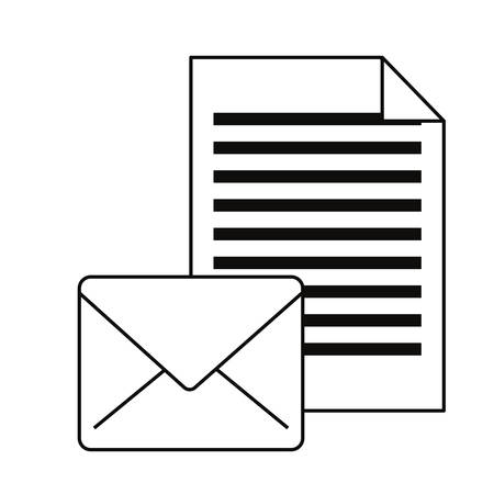 email letter communication cybersecurity data vector illustration outline Vettoriali