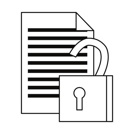 document open padlock secure cybersecurity data protection outline Illustration