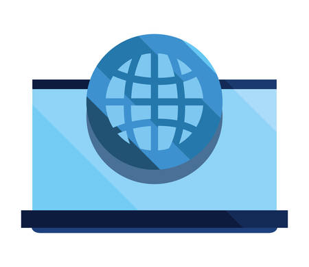 laptop world cybersecurity data protection vector illustration