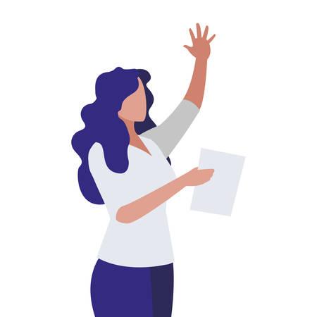 elegant businesswoman with documents vector illustration design Standard-Bild - 122395625