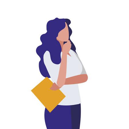 elegant businesswoman with documents vector illustration design 向量圖像