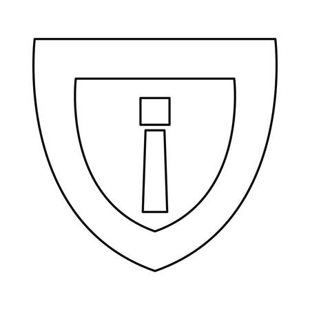 shield protection alert cybersecurity data vector illustration outline 向量圖像