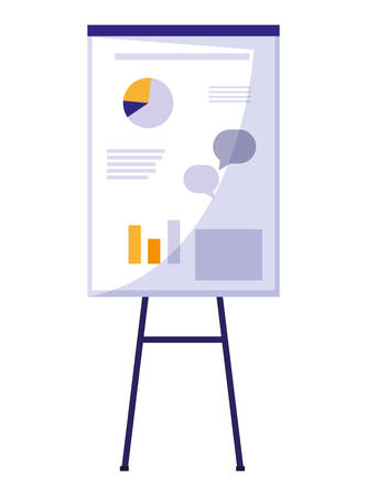 paperboard with statistics graphic vector illustration design