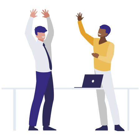 couple of interracial businessmen in the office scene vector illustration design